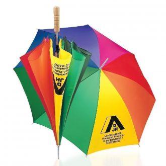 Werbetipp: 36 Stockschirme Regenbogen inkl. 1-farb. Druck