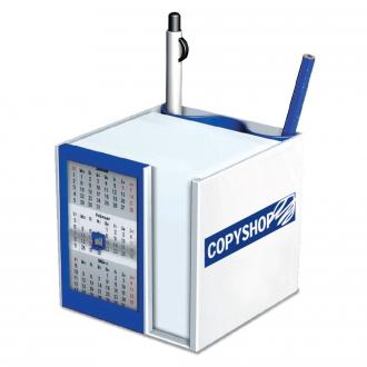 Werbetipp: 40 Tischkalender mit Zettelbox blau inkl. einfarbigem Werbedruck