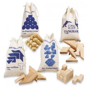 Holz-Geschicklichkeitsspiele Set / 4 Stück