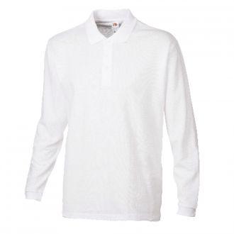 New Premium Longsleeve Polo Shirt -Fruit of the Loom- Weiß