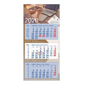 3-Monats Wandkalender Kalendarium blau/weiß incl. 4c-Druck