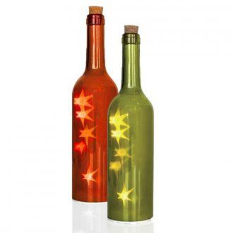 Dekoflasche mit Holo-Stern LED