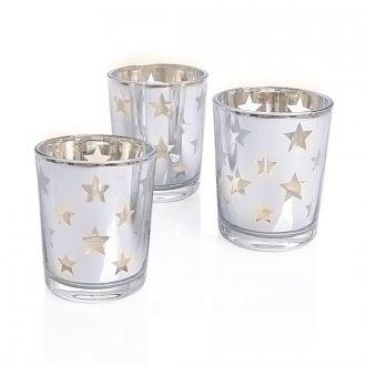 Glas-Teelichter Sterne 3er Set
