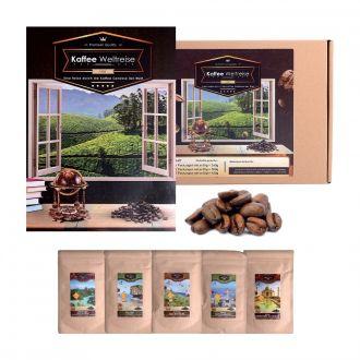 Kaffee Weltreise 5er Geschenkset aus Naturkarton
