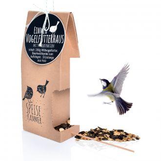 Einweg-Vogelfutterhaus mit Spenderfunktion Motiv Speisekammer