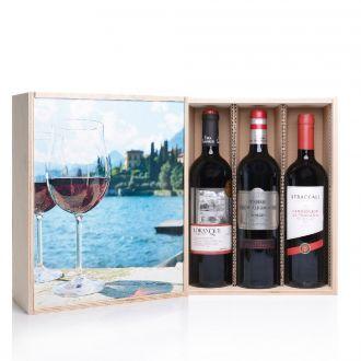 Mediterrane Weinreise 3 Weine in Holzkiste