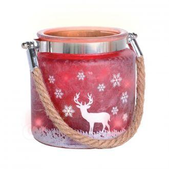 Winter Henkelglas Hirsch rot m LED Beleuchtung