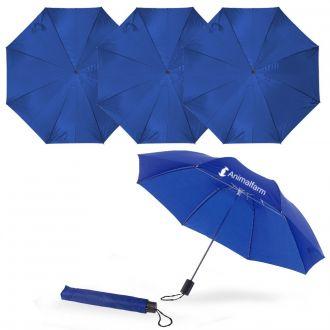 Werbetipp: 36 Taschenschirme blau inkl. einfarb. Werbedruck