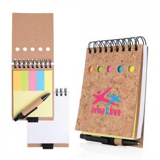 Kork-Haftnotizbuch mit Kugelschreiber