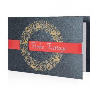 Weihnachtskarte Rotes Band mit Werbedruck