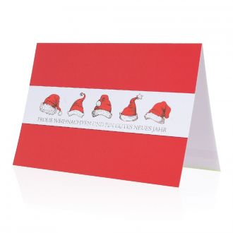 Weihnachtskarte Mützen mit Werbedruck