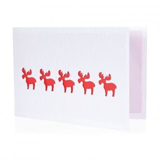 Weihnachtskarte Rote Elche mit Werbedruck