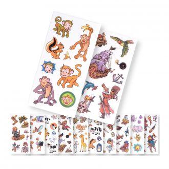 Tattoos Tiere u Piratenmotiv  15er Set auf Karte vielfach sortiert