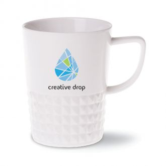 Porzellan Tasse Diamond weiss Ausführung mit Werbedruck