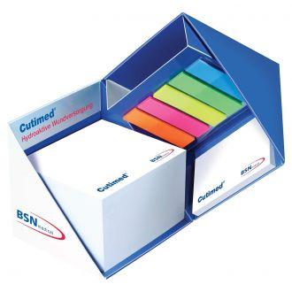 Notizwürfel mit Stiftehalter 4C Druck auf Außenseite mit Einzelblattdruck