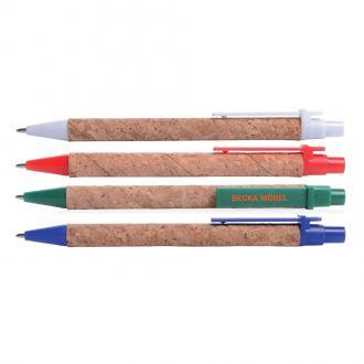 Kunststoff-Kugelschreiber Naturline aus Kork, blauschreibende Qualitätsmine